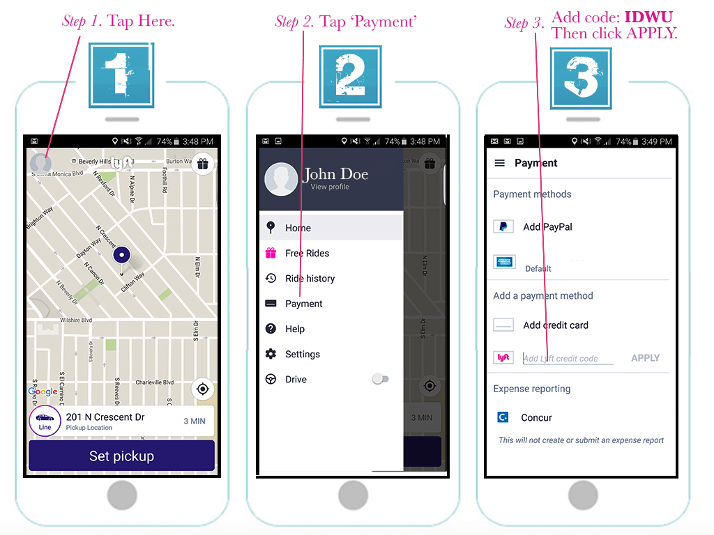 Where to add Lyft credit code for Android
