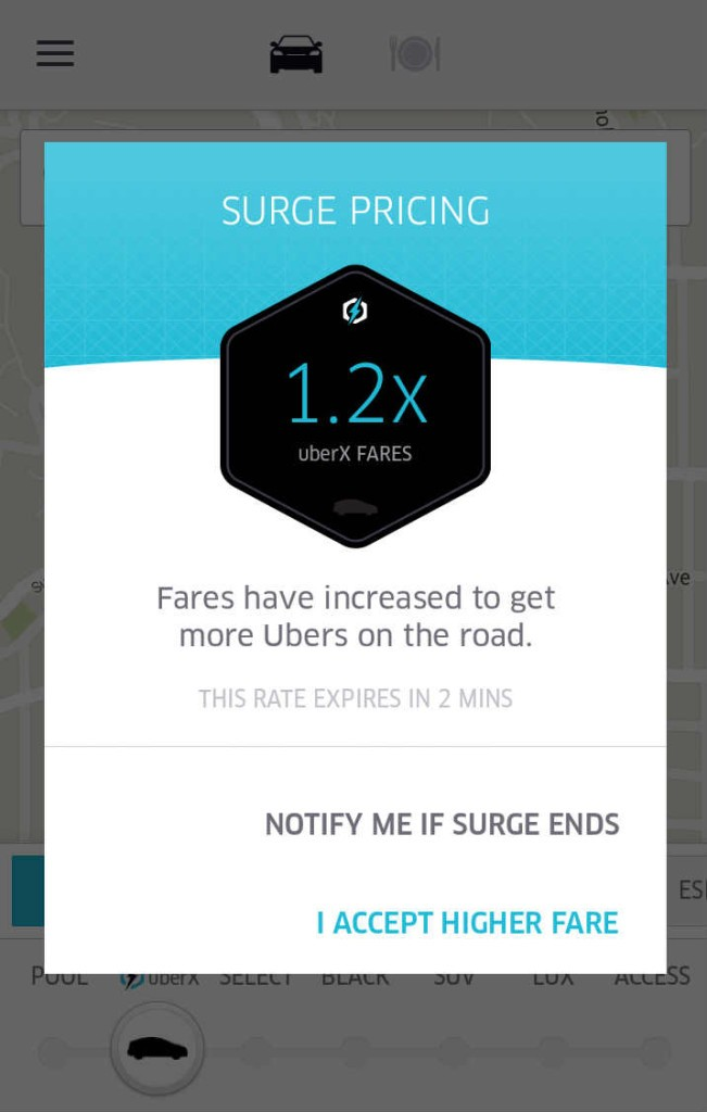 Uber Surge Pricing Confirmation Screen