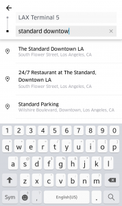 Select search results in Uber app