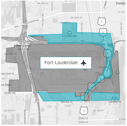 uber staging lot Fort Lauderdale International Airport 2017 map uber rideshare fifo zone